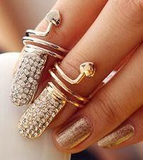 Real Crystal Nail Rings In Rhodium Plated & 10K Gold Plated