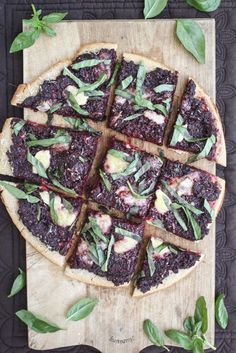beet pesto pizza with goat cheese and basil