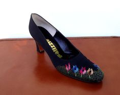 Womens Black Shoes Chunky Heel Pumps Flower by ForsythiaHill, $35.00
