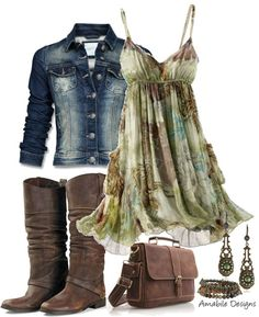 """""""Country Chic"""" by amabiledesigns on Polyvore....only longer dress. - prettylittlebag.com"""