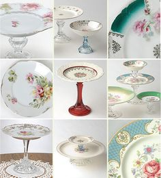 *Gorgeous* DIY cake stands (candlestick holders + pretty plates). Love!