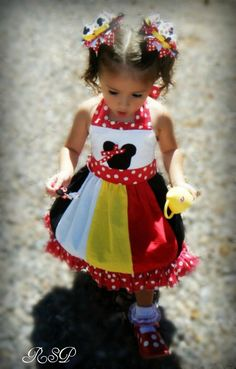 minnie mouse appliqued  dress red polkadots by SweetPeaBlossoms, $49.99