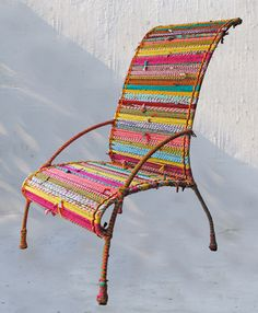 Boho Decor Chair | Bohemian Furniture. Could make these with rag rugs and curbside patio chair frame finds.
