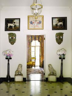 Brooke Astor's country house with the charming dog paintings