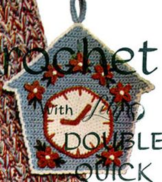 Clockhouse Pot Holder crochet pattern from Modern Crochet, originally published by Lily Mills Company, Book 75, in 1954.