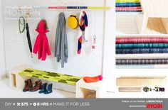 """""""HomeMade Modern DIY EP7 Colorful Mudroom"""" - I love this idea: wrapping dowels (or any wood) in yarn to make your homemade furniture more colorful. -j"""