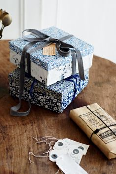 fabric-covered boxes
