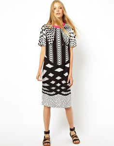 ASOS | ASOS Monoclash Print Tee Dress