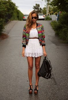 cute crochet dress, skinny leather belt, old lady's new mexico jacket