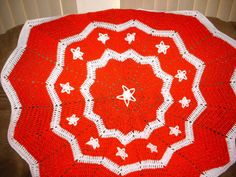Crocheted Round Ripple Christmas Afghan