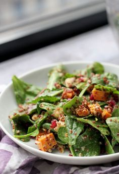 Crispy Quinoa and Power Greens Salad with Smoky Meyer Lemon Vinaigrette