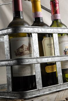 Metal Milk Bottle Carrier (holds 6 wine bottles) $24