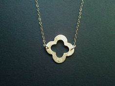 Gold Clover Quatrefoil Necklace - Lucky Necklace, Best friend Gift - simple, modern, everyday jewelry - lovely gift. $24.00, via Etsy.