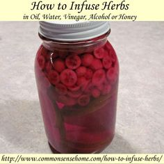 How to Infuse Herbs in Oil, Water, Vinegar, Alcohol or Honey @ Common Sense Homesteading