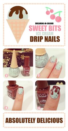 Ice cream drip nails in mint and chocolate chip!