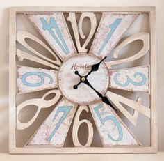 pastel aqua retro wall clock   Wall Clock Chic n Shabby Distressed Style Square Wooden Cut-Out Pastel ...