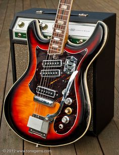 The spy sound begins with low action accomplished with the help of a zero fret, 25 inch or more scale length, thin neck and an 11-13k ohm bridge pickup, all which are included in the Teisco made Silvertone 14459L.