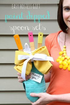 Easy Hostess Gift: How to Make Paint-Dipped Spoon Sets from MomAdvice.com.