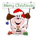 Merry christmas dog cartoon