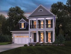 This brand new two story #houseplan is perfect for a narrow lot with a view. Two-story porches are the highlight of this design with the master suite upstairs. View the floor plans of House Plan 4064: http://www.thehousedesigners.com/plan/columbia-4064/