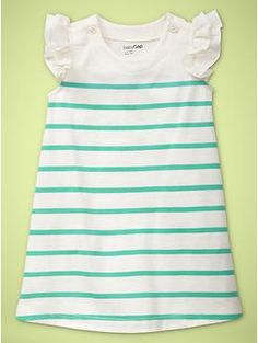 flutter-sleeve turquoise striped dress baby gap