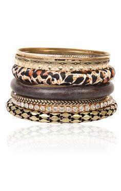 Deb Shops #brown mixed #leopard and #cobra bangle set