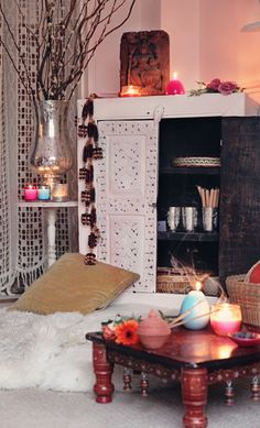 candles and incense create the mood for our Indian styling