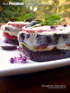 Pesto Provolone Eggplant Tomato Stacks | Sumptuous Spoonfuls #easy #meatless #glutenfree #dinner #recipe