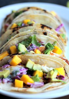 Grilled Chili-Lime Fish Tacos with Sour Cream Cabbage Slaw + Mango & Avocado - Ambitious Kitchen