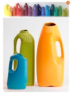 these are ceramic containers cast from household detergents and cleaners -- but i think i'll just save some bottles and spray paint them - cute for vases/watering cans!