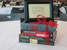 Cute idea for graduation party.. use books as centerpiece with quote. Tie with a ribbon in school colors.