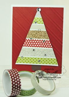 www.PattyStamps.com - Season of Style Washi Tape Christmas Tree card - triangle is from the Perfect Pennant big shot die from Stampin Up