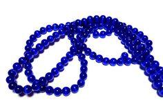 Beads 6mm 1 Strand Quantity 66 Cats Eye Royal Blue Destash Supplies Jewelry by PinkCloudsAndAngels, $2.50