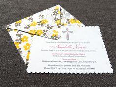 Pretty! Girl Baptism Invitation with handmade envelope
