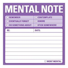 "www.squidoo.com/unique-funny-post-it-notes - Totally need thse funny post it notes.  I'd always be checking ""eventually forget""...lol! Knock Knock 12435 Sticky Mental Notes.  #ppgfunny"