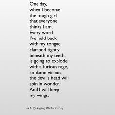 And I will keep my wings.
