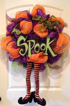 SPOOK Halloween Wreath by HBBcreations on Etsy, $50.00