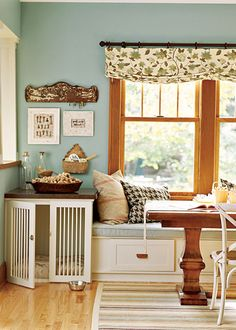 Oak trim with light blue wall, white furniture