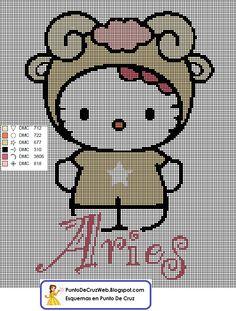 Punto De Cruz Horóscopo Hello Kitty Aries