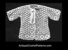 Filet Jacket Vintage Crochet  antiquecrochetpatterns.com