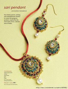 Free beaded jewellery tutorial #pendant #medallion #bezel