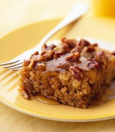 Honey-Glazed Buttermilk Oatmeal Coffee Cake: A honey glaze is baked at the bottom while lemon juice and zest add a little zing.  More breakfast breads: http://www.midwestliving.com/food/breakfast/breakfast-breads/page/9/0 coffee cakes, food, cake galor, coffe cake, eat cake