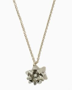 Gift Wrap Glitter Bow Necklace   Necklaces   charming charlie