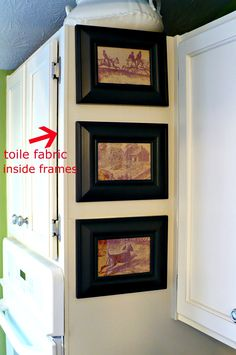 fabric in frames for end of kitchen cabinets