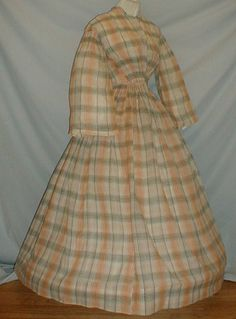 """Charming 1860's Cotton Print Day Dress   eBay; seller: fiddybee; full pagoda sleeves, ruching at front waist & top of sleeves; neck, armscyes & waist are piped; bodice lined with cotton, front hook & eye closure. Skirt attached with tight cartridge pleating & is unlined. Bust: 34""""; waist: 22""""; skirt length: 120"""""""