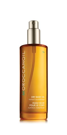 Moroccanoil Dry Body Oil  Argan oil - extremely rich in natural tocopherols (Vitamin E), essential fatty acids and anti-oxidants, this 100% natural oil helps to hydrate and nourish the skin improving its texture and tone.   Olive Oil - contains a high level of healthy monounsaturated fatty acids and antioxidant