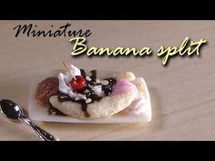Miniature Banana Split - Polymer Clay Tutorial - YouTube
