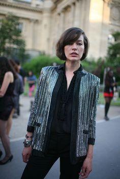Milla Jovovich's street style at the Paris fashion week