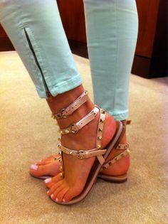 so cute. #sandals #studs #mint