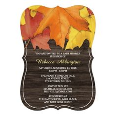 Rustic Autumn Leaves Wood Baby Shower Invitations